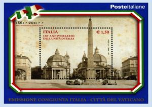 ITALIA 150: Francobollo congiunto Vaticano-Poste Italiane bozzetto e stampa a cura del Poligrafico dello Stato