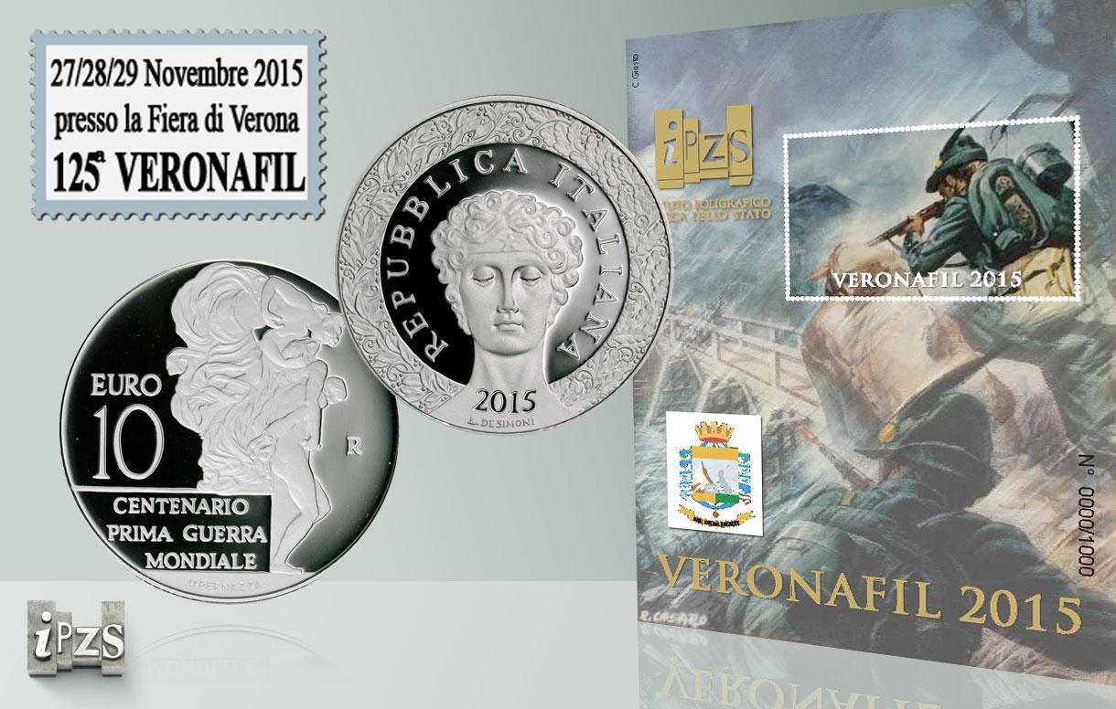 L'IPZS al 125° Veronafil  con tutte le emissioni numismatiche 2015 e il Foglietto Erinnofilo