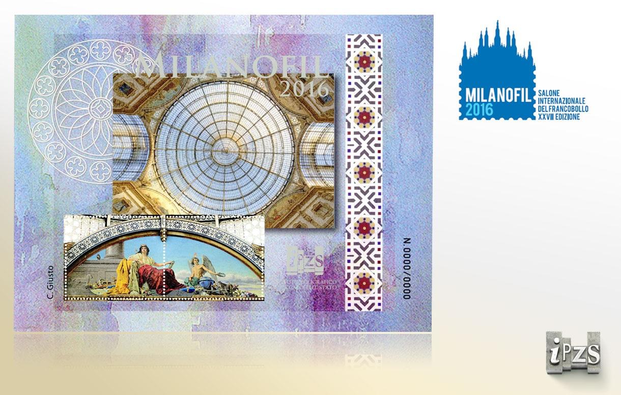 Milanofil 2016: la Galleria di Milano nel Foglietto realizzato dall'Istituto Poligrafico e Zecca dello Stato
