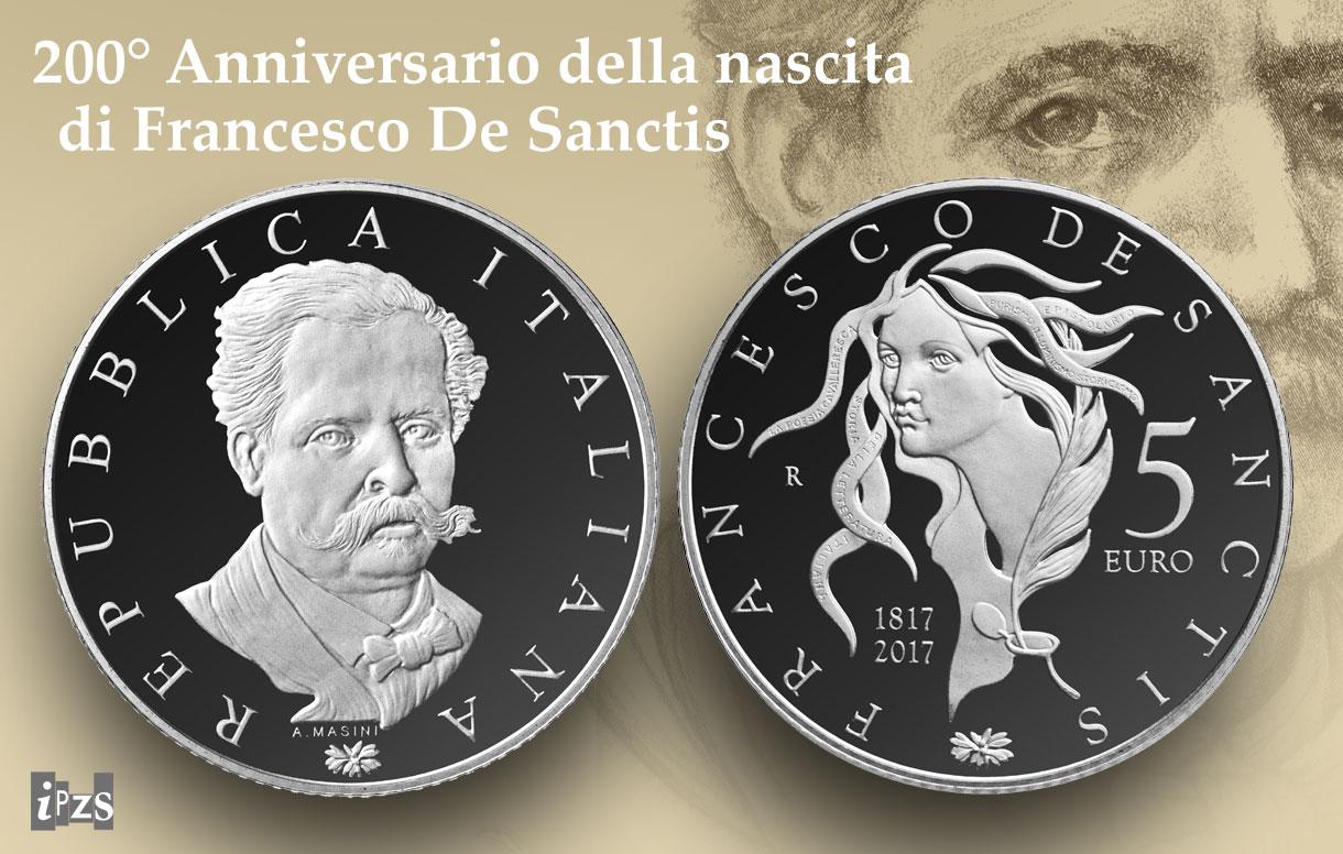 E' in argento la 5 euro dedicata a Francesco De Sanctis