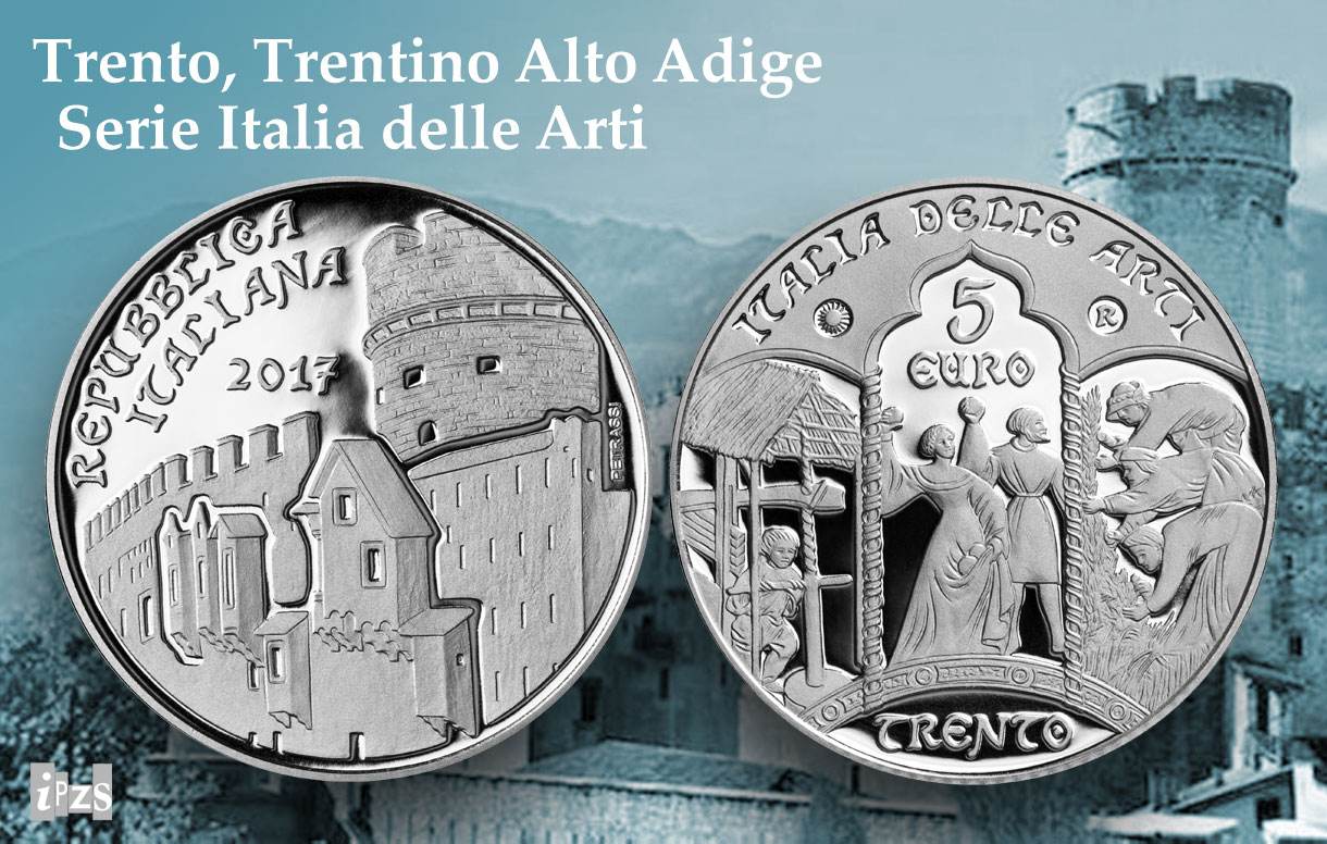 """Serie """"Italia della Arti"""", 5 euro argento per Trento"""