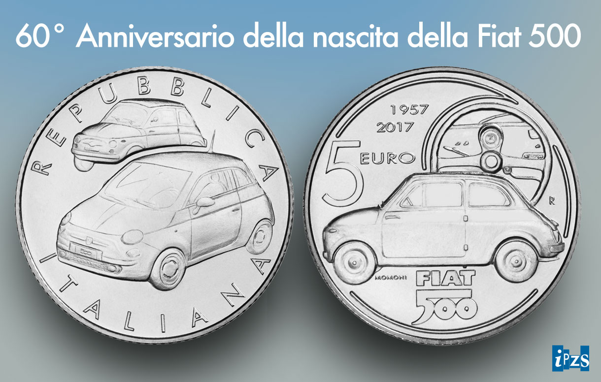 La moneta in argento per il 60° compleanno della Fiat 500