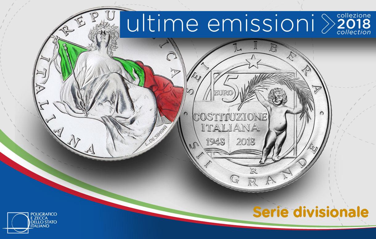 La serie divisionale con le monete dedicate al 70° della Costituzione Italiana