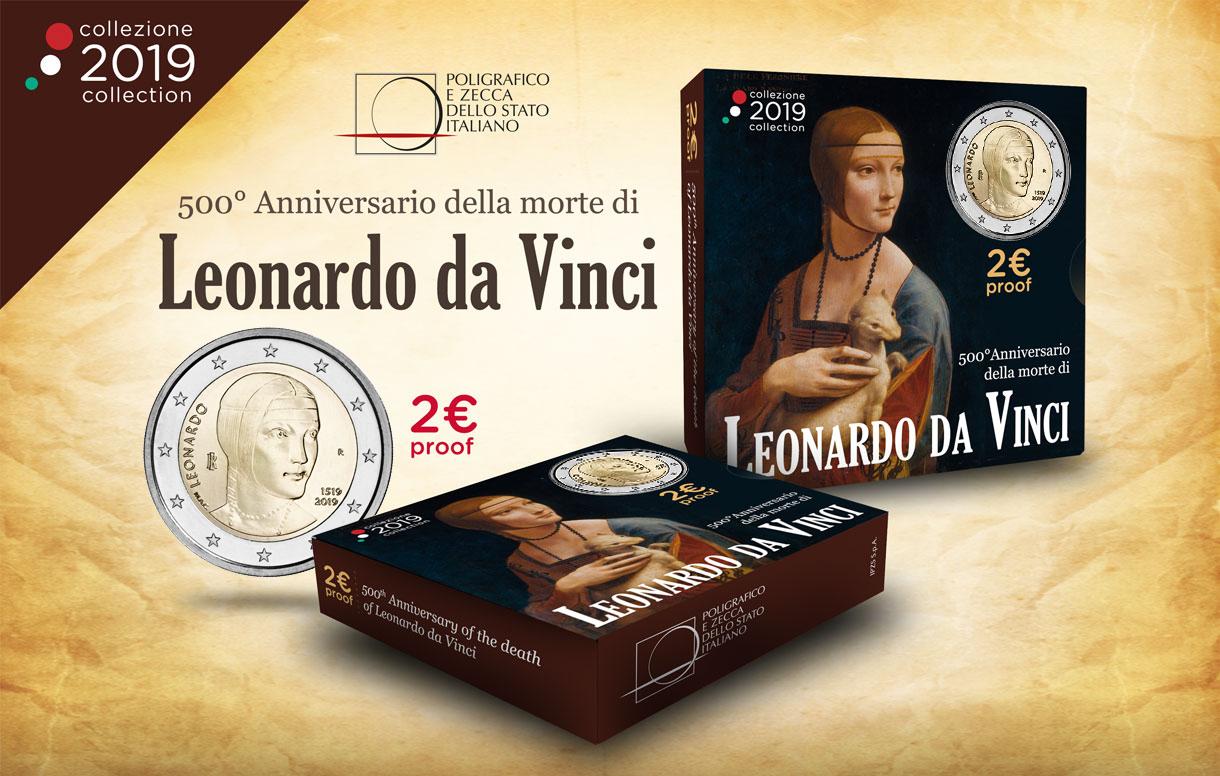 Dedicata a Leonardo Da Vinci la prima moneta del 2019
