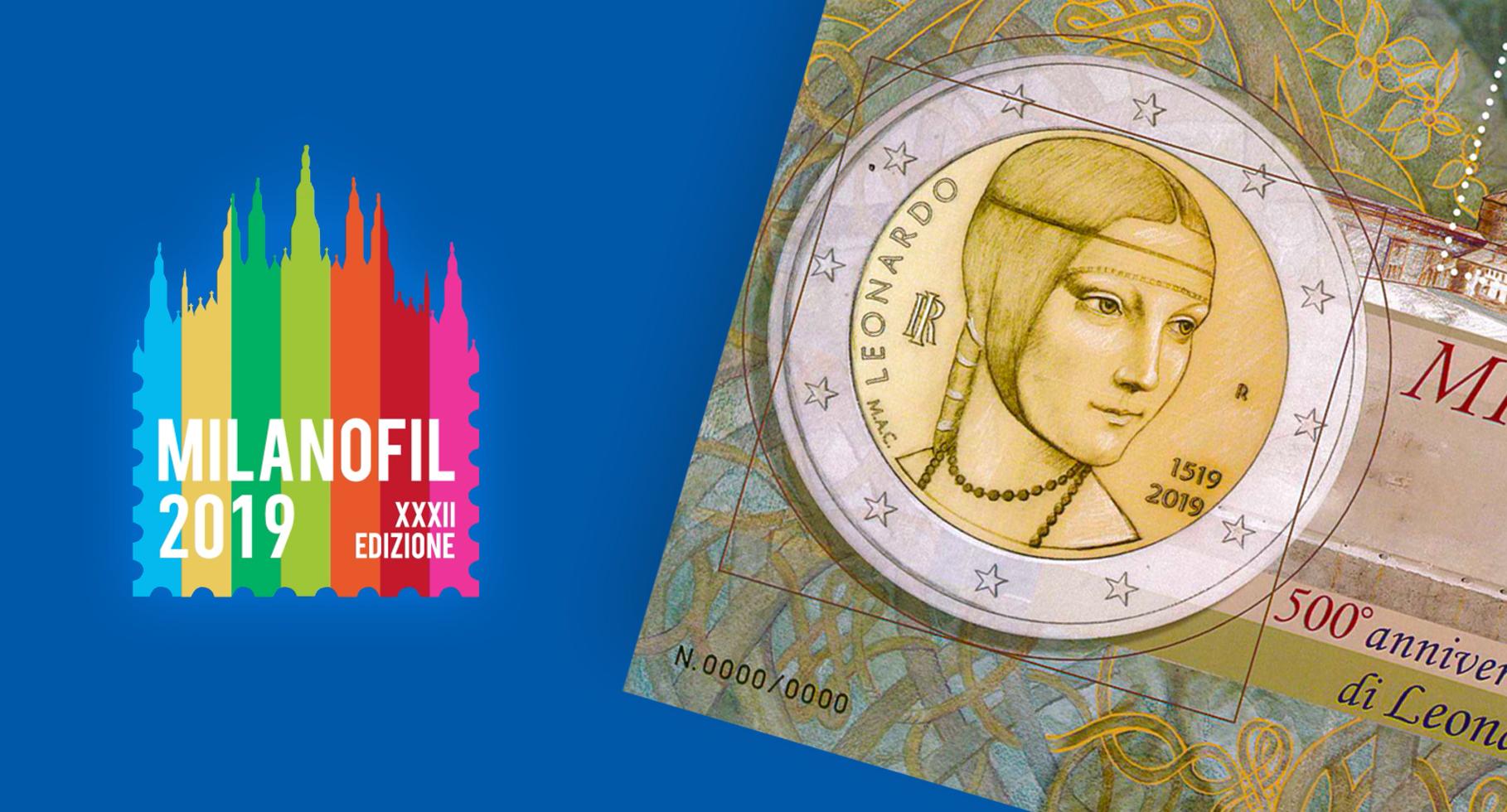 Il Poligrafico a Milanofil 2019 presenta il foglietto erinnofilo dedicato al 500° anniversario della morte di Leonardo da Vinci