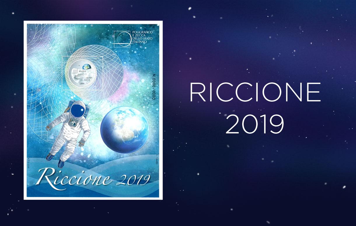 Uno speciale foglietto erinnofilo dedicato allo sbarco sulla Luna per RICCIONEFIL 2019