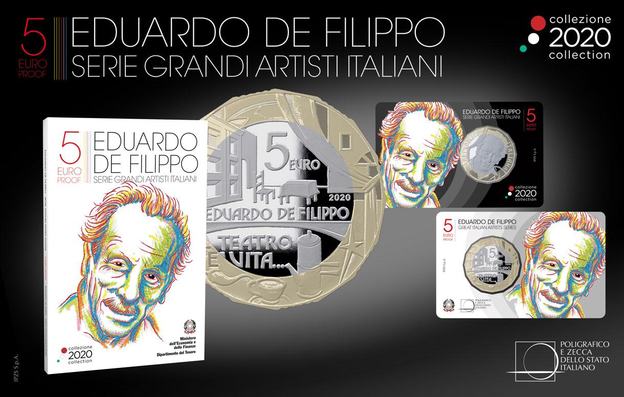 Numismatica: una moneta della Collezione 2020 celebra l'arte e il teatro di Eduardo De Filippo